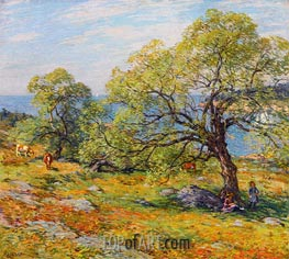 A Seaside Pasture, 1910 by Willard Metcalf | Painting Reproduction