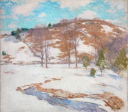 Snow in the Foothills, c.1920/25 by Willard Metcalf | Painting Reproduction