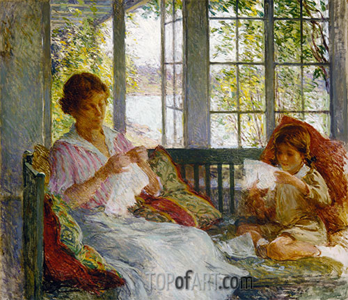 My Wife and Daughter, c.1917/18 | Willard Metcalf | Painting Reproduction