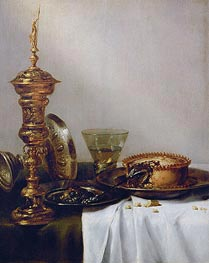 Breakfast Still Life with Chalice, 1634 by Claesz Heda | Painting Reproduction