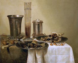 Still Life with Silver Goblets, 1637 by Claesz Heda | Painting Reproduction