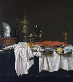 Still Life with a Lobster, c.1650/59 by Claesz Heda | Painting Reproduction