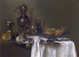 Still Life: Pewter and Silver Vessels and a Crab, c.1633/37 by Claesz Heda | Painting Reproduction
