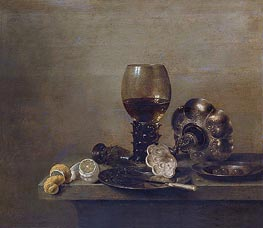 Still Life with a Broken Glass | Claesz Heda | Painting Reproduction