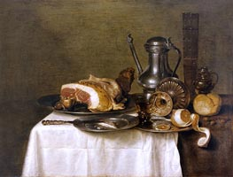 Still Life with Ham, 1649 by Claesz Heda | Painting Reproduction
