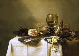 Still Life with a Ham and a Roemer, c.1631/34 by Claesz Heda | Painting Reproduction