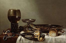 Still Life with a Roemer and Watch | Claesz Heda | Gemälde Reproduktion