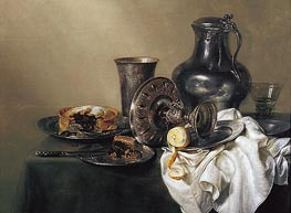 Still Life with Meat Pie, 1633 von Claesz Heda | Gemälde-Reproduktion