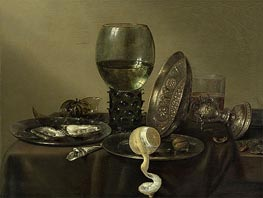 Still Life with Oysters, a Rummer, a Lemon and a Silver Bowl | Claesz Heda | Painting Reproduction