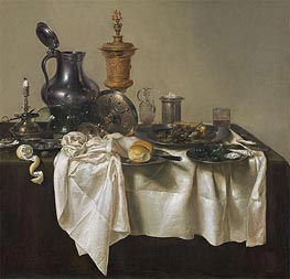 Banquet Piece with Mince Pie, 1635 by Claesz Heda | Painting Reproduction