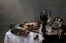 Breakfast Table with Blackberry Pie, 1631 by Claesz Heda | Painting Reproduction