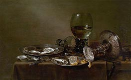 Still Life with Oysters, a Silver Tazza and Glassware | Claesz Heda | Painting Reproduction