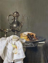 Still Life with Silver Ewer and Pie, 1645 by Claesz Heda | Painting Reproduction