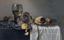 Still Life with Fruit Pie and various Objects, 1634 von Claesz Heda | Gemälde-Reproduktion