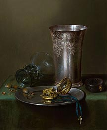 A Still Life with a Silver Goblet and a Watch on a Pewter Plate | Claesz Heda | Painting Reproduction