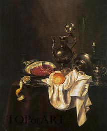 Still Life of Ham and Silver Plate | Claesz Heda | Painting Reproduction