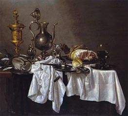 Still Life with a Silver Ewer, Nautilus Cup and Ham | Claesz Heda | Painting Reproduction