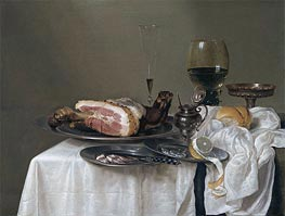 A Still Life with a Roemer, Silver Tazza and Ham | Claesz Heda | Painting Reproduction