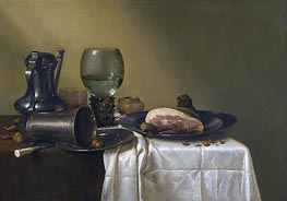 Still Life of a Pewter Kanne, a Roemer, an Overturned Silver Beaker Resting on a Pewter Plate | Claesz Heda | Painting Reproduction