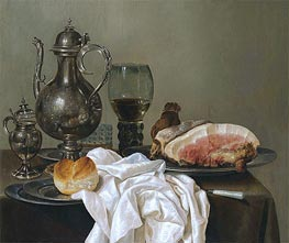 A Still Life with a Silver Tazza, a Roemer with White Wine and Ham | Claesz Heda | Painting Reproduction
