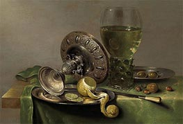 Still Life with a Tazza, Peeled Lemon and Roemer, c.1630 von Claesz Heda | Gemälde-Reproduktion