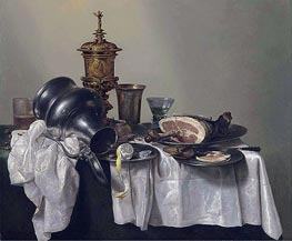 A Ham, a Peeled Lemon and an Upturned Tankard, 1655 von Claesz Heda | Gemälde-Reproduktion
