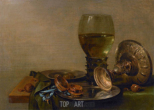 Still Life with Roemer and Silver Tazza, 1630 | Claesz Heda | Gemälde Reproduktion
