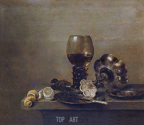 Still Life with a Broken Glass, 1642 | Claesz Heda | Painting Reproduction