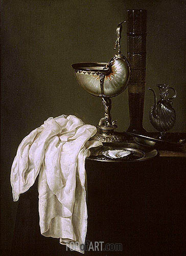 Still Life with Nautilus Cup and Oyster, 1640 | Claesz Heda | Gemälde Reproduktion