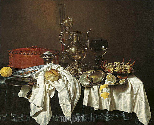 Still Life with Pie, Silver Can and Crab, 1658 | Claesz Heda | Gemälde Reproduktion