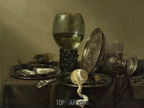 Still Life with Oysters, a Rummer, a Lemon and a Silver Bowl, 1634 | Claesz Heda | Gemälde Reproduktion