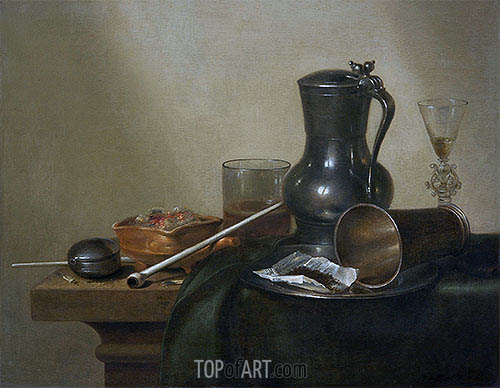 Tobacco Still Life, 1637 | Claesz Heda | Painting Reproduction