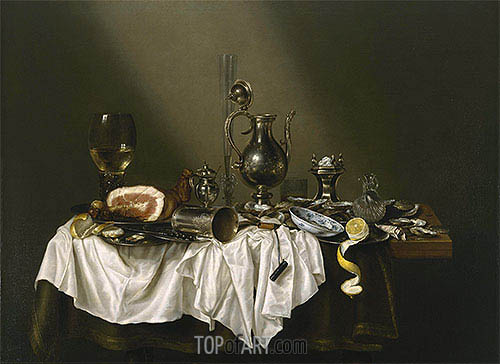 Banquet Piece with Ham, 1656 | Claesz Heda | Painting Reproduction