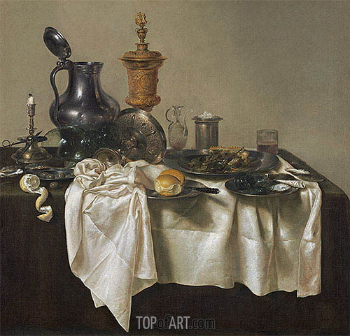 Banquet Piece with Mince Pie, 1635 | Claesz Heda | Painting Reproduction