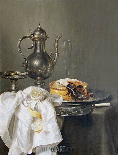 Still Life with Silver Ewer and Pie, 1645 | Claesz Heda | Painting Reproduction