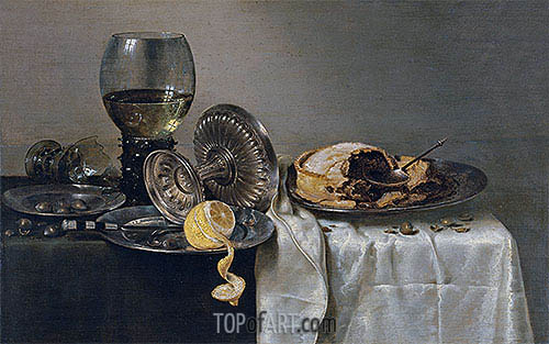 Still Life with Fruit Pie and various Objects, 1634 | Claesz Heda | Painting Reproduction