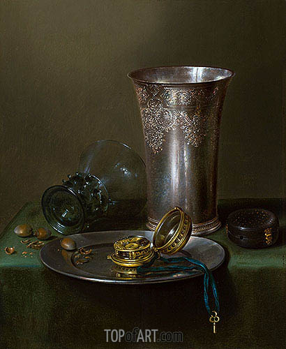A Still Life with a Silver Goblet and a Watch on a Pewter Plate, undated | Claesz Heda | Gemälde Reproduktion