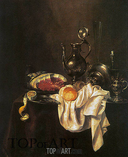 Still Life of Ham and Silver Plate, 1649 | Claesz Heda | Gemälde Reproduktion
