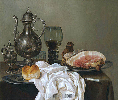A Still Life with a Silver Tazza, a Roemer with White Wine and Ham, undated | Claesz Heda | Painting Reproduction
