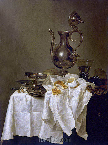 Still Life with Silver Ewer and Watch, 1643 | Claesz Heda | Painting Reproduction