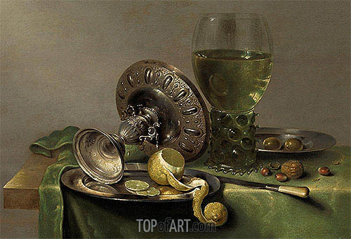 Still Life with a Tazza, Peeled Lemon and Roemer, c.1630 | Claesz Heda | Painting Reproduction