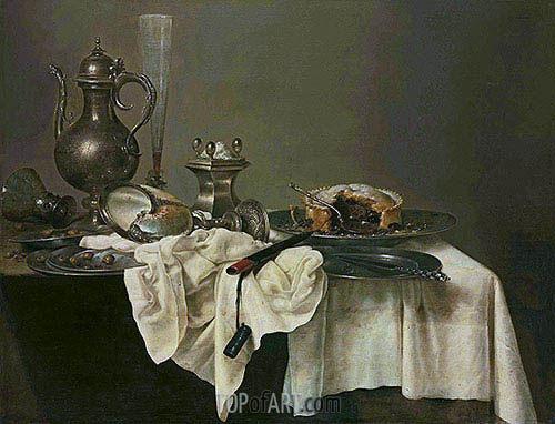 A Blackberry Pie, Upturned Nautilus Cup and a Silver Ewer, 1643 | Claesz Heda | Gemälde Reproduktion