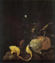 Still Life with Lemon, Oranges, and Glass of Wine | Willem Kalf | Painting Reproduction