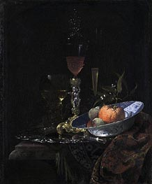 Wine Glass on a Gilded Silver Foot and a Bowl of Fruit, 1663 by Willem Kalf | Painting Reproduction