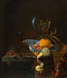 Still Life with Porcelain Bowl and Nautilus Cup | Willem Kalf | Painting Reproduction