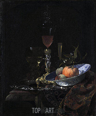 Wine Glass on a Gilded Silver Foot and a Bowl of Fruit, 1663 | Willem Kalf | Painting Reproduction