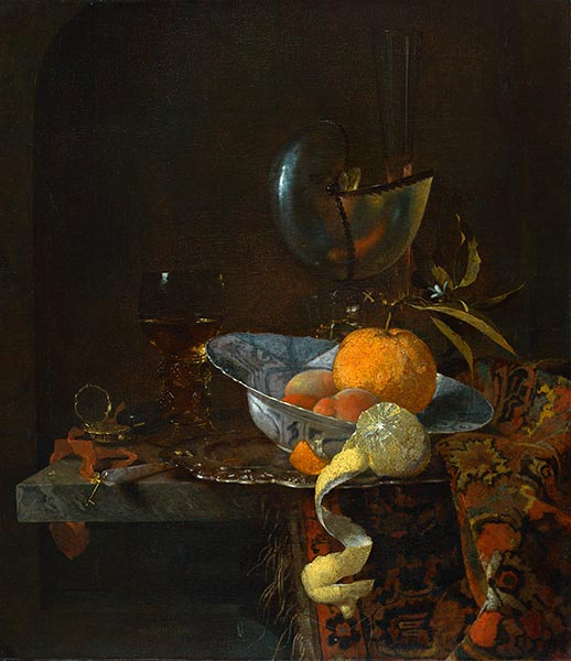 Still Life with Porcelain Bowl and Nautilus Cup, 1660 | Willem Kalf | Painting Reproduction