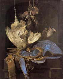 Still Life with Hunting Equipment and Dead Birds, 1668 by Willem van Aelst | Painting Reproduction