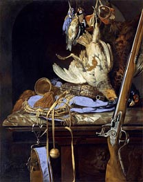 Dead Birds and Hunting Gear, 1664 by Willem van Aelst | Painting Reproduction