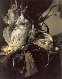 Still Life of Dead Birds and Hunting Weapons, 1660 by Willem van Aelst | Painting Reproduction